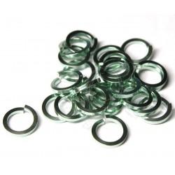 50 ks 6,6/1,2 zelené světlé opál kroužky z hranatého