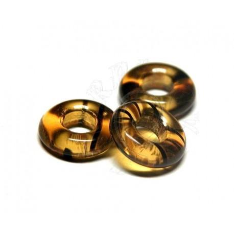 1 ks skleněný kroužek -safary -želvovinový