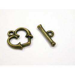 1ks T+O zapínání srdce zasunuté - antik bronz mat