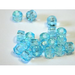 30 ks modrá tyrkys - velkodírkové broušené korálky na kroužky