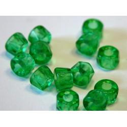 30 ks zelená jasná - velkodírkové broušené korálky na kroužky