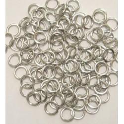 6/1 mm stříbrné hliníkové kroužky - bal. 100 ks